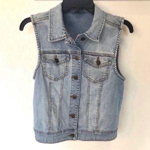 Rubbish Trucker Style Jean Vest Jacket Size M